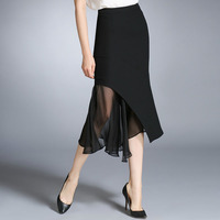 2016 Irregular Chiffon Patchwork Women Fashion Package Hip Asymmetrical Midi Skirt 1763LY