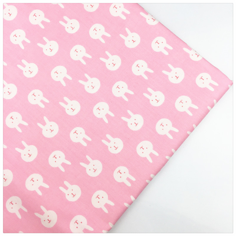 Twill cotton fabric pink rabbit print syunss curtains for Kids cotton fabric