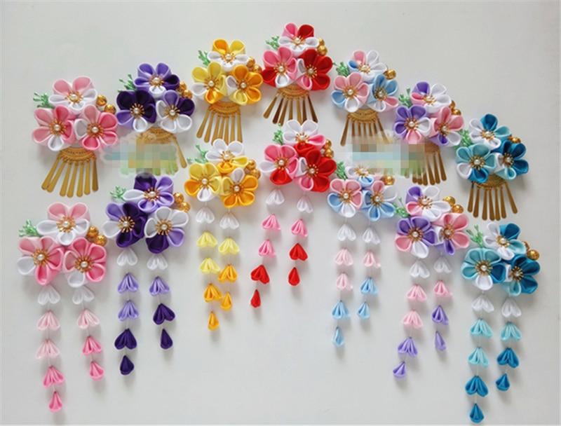 Wholesale Japanese Style Handmade Hair Ornaments Cherry Tassel Headdress Costume Kimono Accessories Flower Hairpin