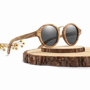Image 3 - 2020 새로운 브랜드 얼룩말 나무 선글라스 남자 여자 레트로 라운드 태양 안경 편광 된 렌즈 UV400 케이스