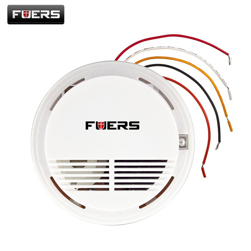 Wired Fire Smoke Sensor Detector Alarm Tester For Home Security System NEW Product Fire Alarm Smoke Detector engineering hotel fire alarm police bell fire fire bell 220v 4 inch suit