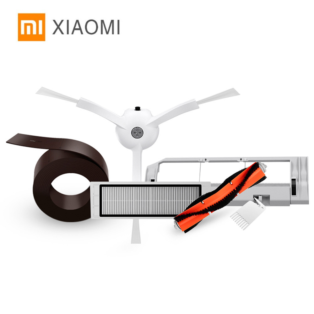 Original Xiaomi Mi Robot Vacuum Smart Cleaner Accessories Parts With Invisible Wall Side Brushes Filter Rolling Brush And Cover 5pcs xiaomi robot vacuum cleaner accessories mijia robot vacuums parts invisible wall side brushes filter rolling brush cover