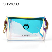 O TWO O Transparent Holographic Cosmetic font b Bag b font Travel Make Up Necessaries Organizer