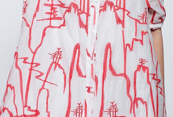 Supérieure Manches 2019 Demi Décontracté O D'été Qualité Unique Cardigan White Red Poitrine Femmes Robe Mode Imprimé Black Printemps white Ramie Cou Lâche IxCwIq6
