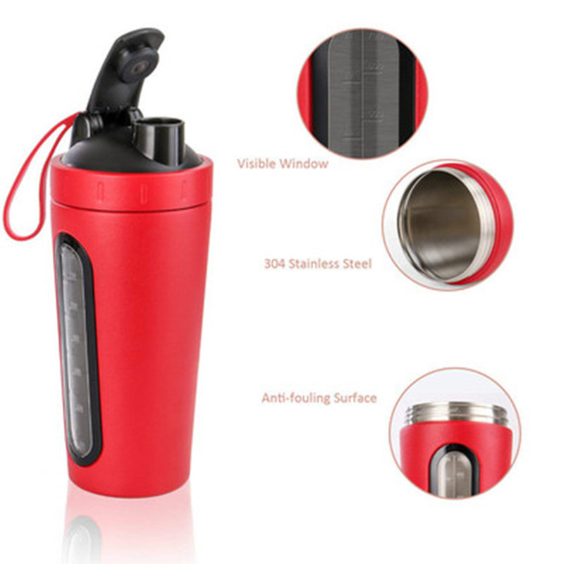 304 Stainless Steel Protein Powder Shake Cup Transparent Scale Sports Mixing Cup Protein Shaker