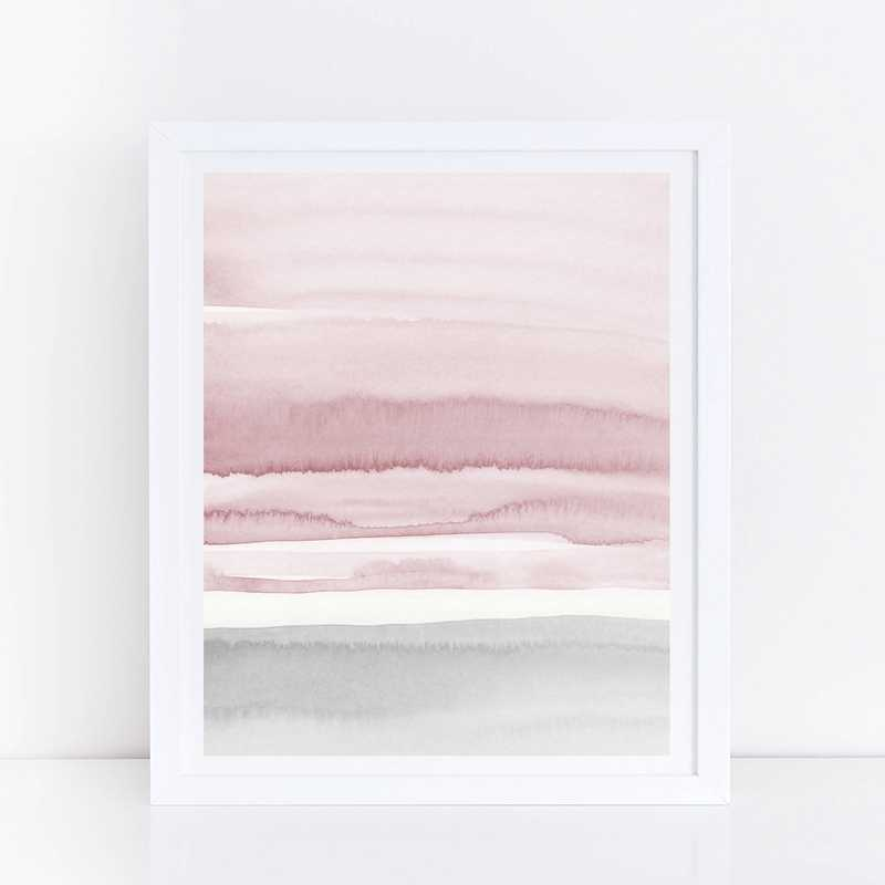 Abstract Art Canvas Print Wall Picture Home Decor , Watercolor Blush Pink and Grey Canvas Painting Home Room Wall Art Decor