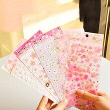 1 sayfalık japonya tarzı sakura oryantal kiraz çiçeği günlüğü deco scrapbooking PVC malzeme maskeleme etiket kırtasiye çıkartmalar