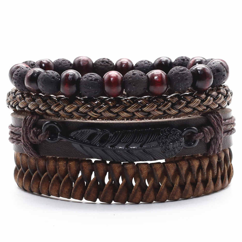 Feather Lava Stone Beads Infinity Brown Charm Cross Men Leather Bracelets Women Vintage Bangle Male Homme Jewelry Accessories