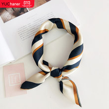 Hair Scarf Tie Animal Print Luxury Satin Small/Square/silk/Neck/Ring/Scarf Winter Head Scarf For Wome Neckerchief Fashion 2018(China)