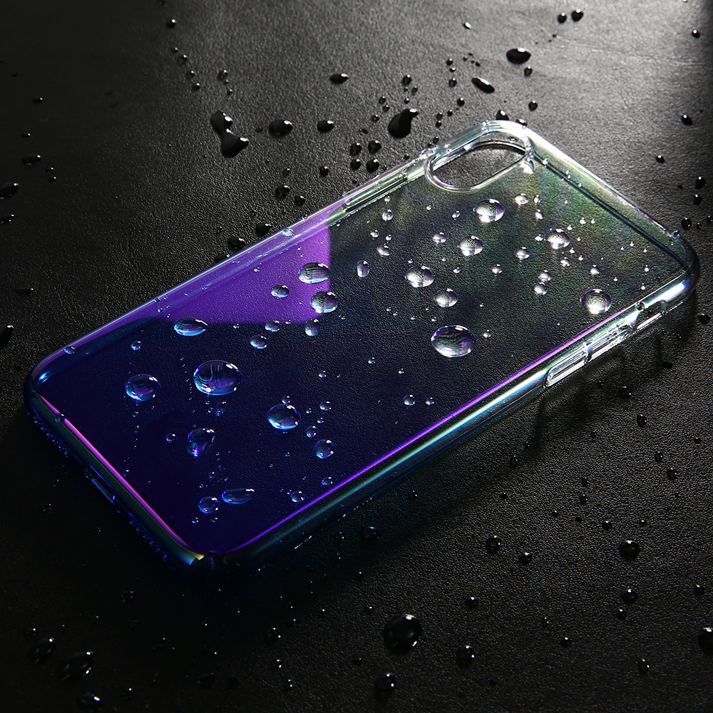 super popular de6a0 3ba86 US $4.79 |FLOVEME For iPhone X Case Clear Gradient Blue Light Hard PC Phone  Case For iPhone X Mobile Phone Accessories-in Fitted Cases from Cellphones  ...