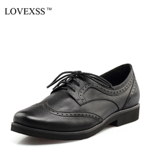 LOVEXSS Patent Leather White Flats Black Casual Lace-Up Derby Shoes Woman Girl Flats 2017 Spring Fashion Genuine Leather 2017