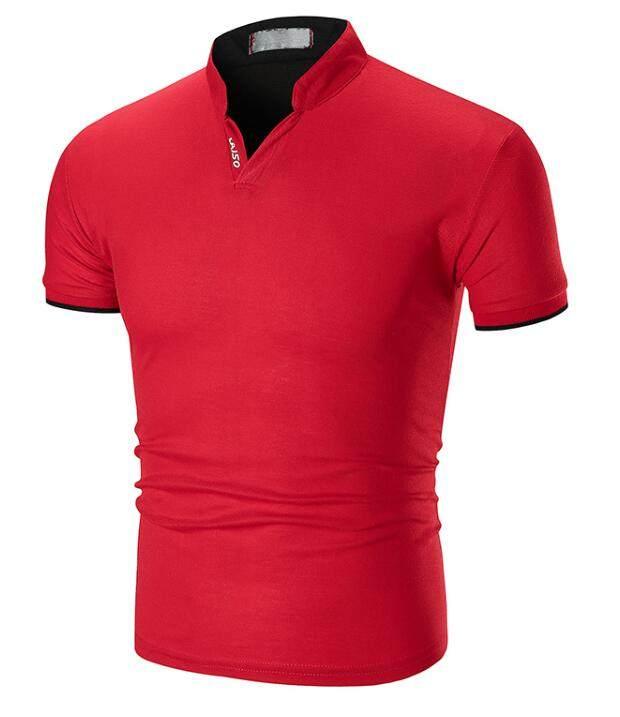 772e15c550 2018 Verão Nova Cor Sólida dos homens Manguito Tarja Colarinho Metade Camisa  Gola Polo Plus Size