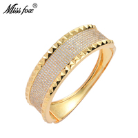 Missfox Fashion Custom Designed Women's Bracelet Ring Set Copper Full Lab Diamond Creative Unique Hip Hop Jewelry For Lady New