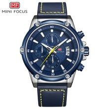 MINI FOCUS Luxuryนาฬิกาผู้ชายกันน้ำสายหนังRelogio Masculino Reloj Hombre Blue Erkek Kol Saati