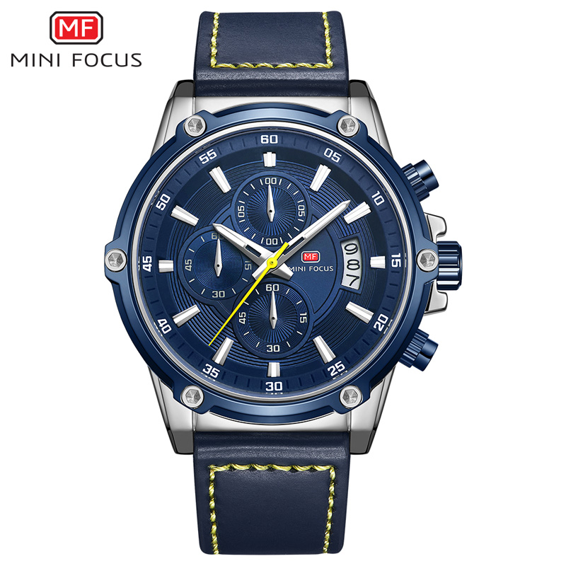 Image 3 - MINIFOCUS Mens Watches Top Brand Luxury Watch Men Waterproof Leather Strap Relogio Masculino reloj hombre Blue erkek kol saati-in Quartz Watches from Watches