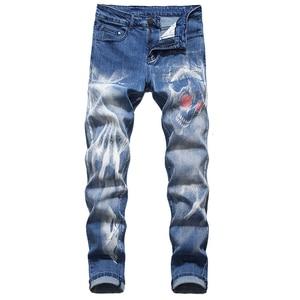 Image 2 - Sokotoo גברים של גולגולת שטן טפרים של 3D מודפס ג ינס Slim ישר למתוח ג ינס מכנסיים כחול שחור
