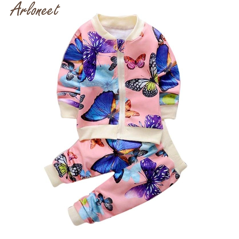 Christmas Pajamas Dress For Baby Girls Baby Girls Autumn Clothes Butterfly Coat Cardigan Tops+Pants Outfits Set 0-4Y Pink &