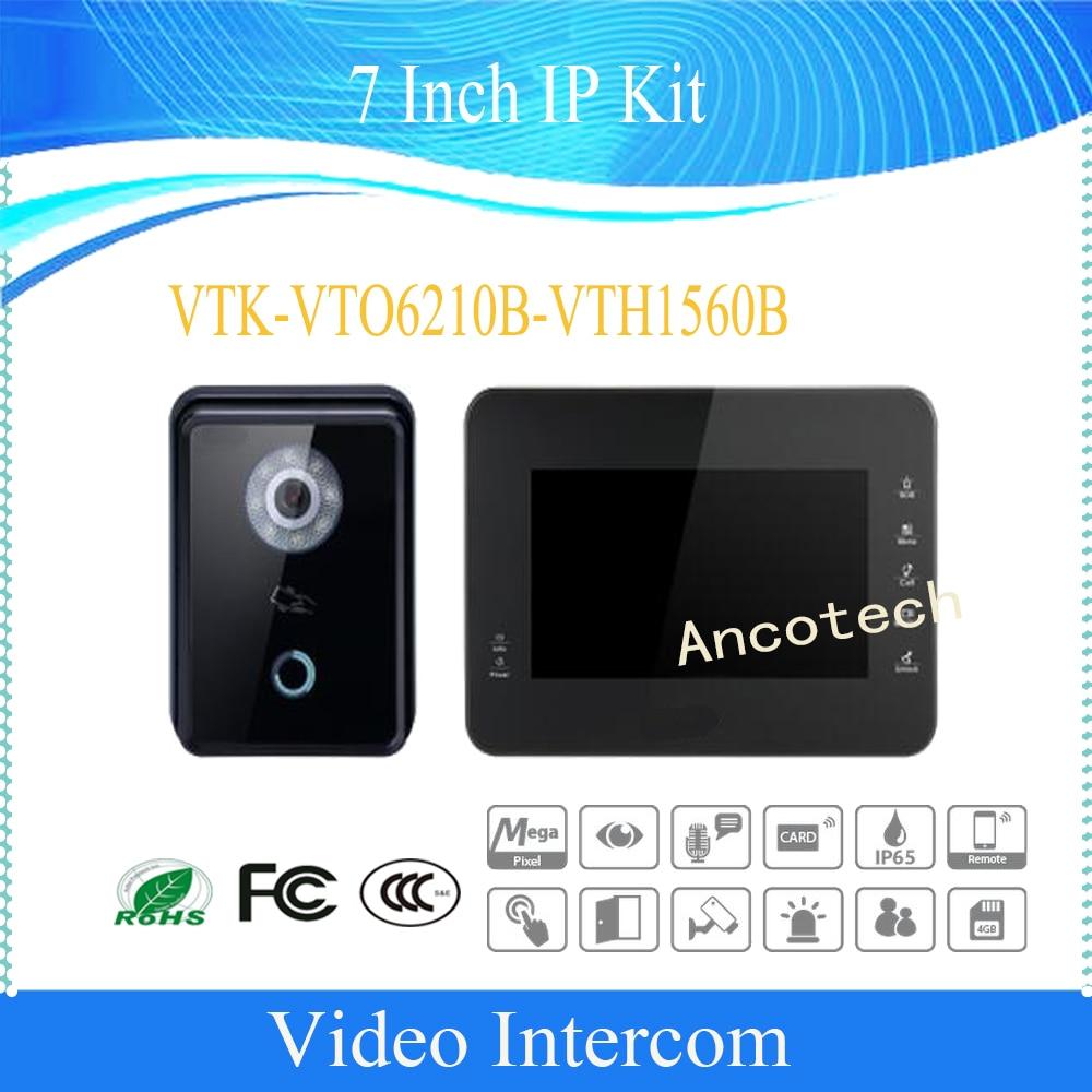 Free Shipping DAHUA Video Intercom 7 Inch IP Kit Support Mobile APP HD CMOS camera Without Logo VTK-VTO6210B-VTH1560B