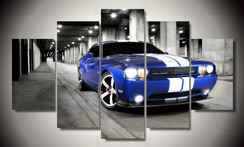 framed printed car dodge challenger 5 piece picture painting wall art living room decor poster canvas