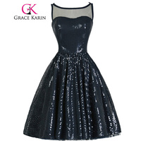 Free Shipping Real Grace Karin Short Sexy Navy Blue Prom Dresses Chiffon Sequins Little Party Dress