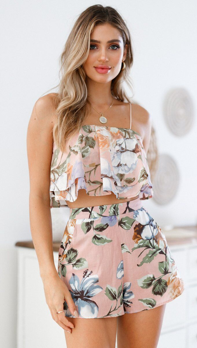 2018 New Fashion Summer Style Flower Printing Sexy Sling Shorts Two Piece Set Female