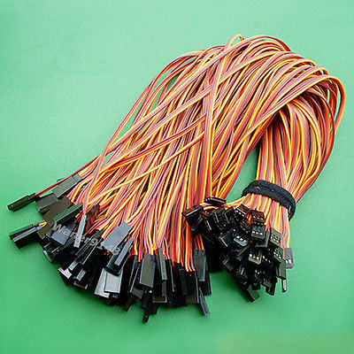 100 pcs 30cm 22AWG 3Pin Servo Cable Extension Extend Lead Wire For Futaba JR servo plug using for jr futaba