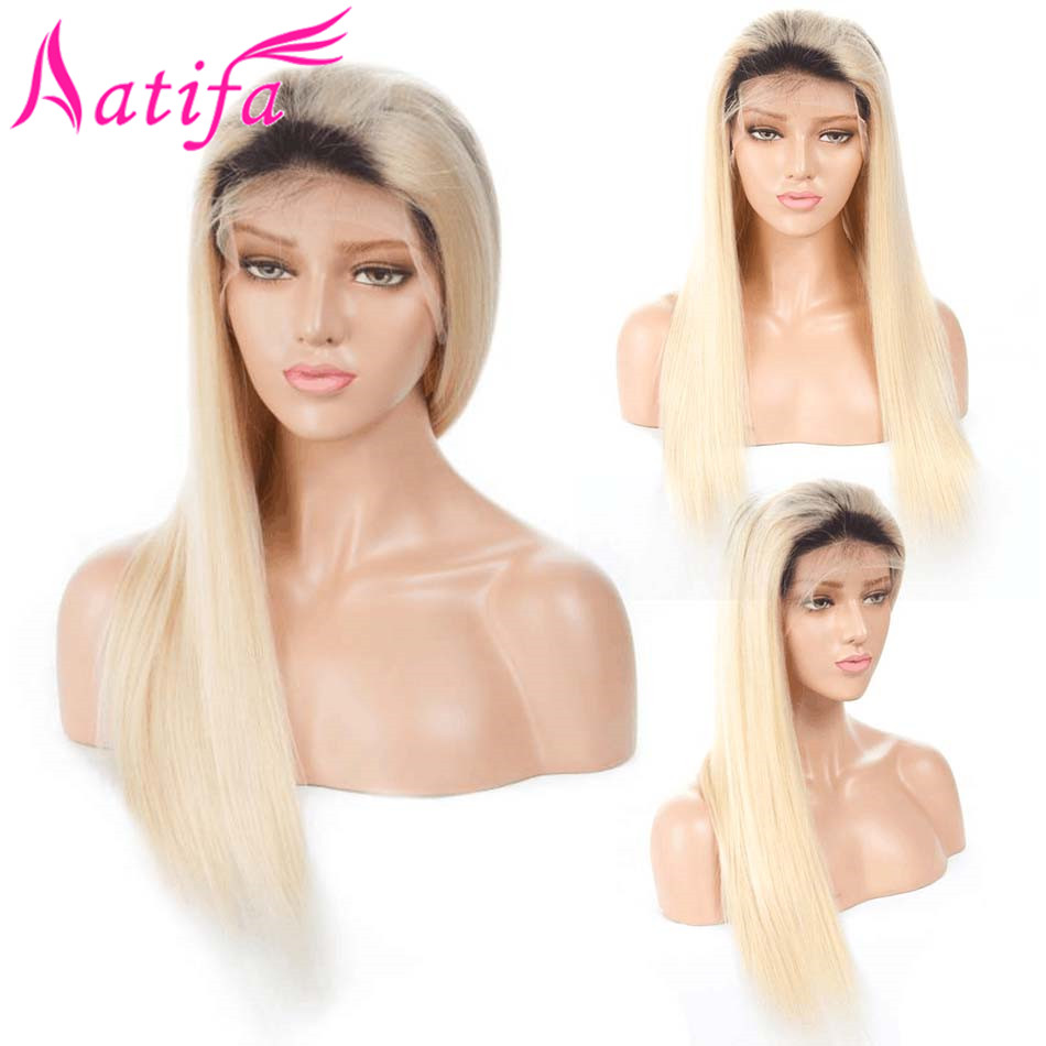 1B 613 Blonde Ombre Color Remy Peruvian Straight Wig Long Pre Plucked Glueless Lace Front Human