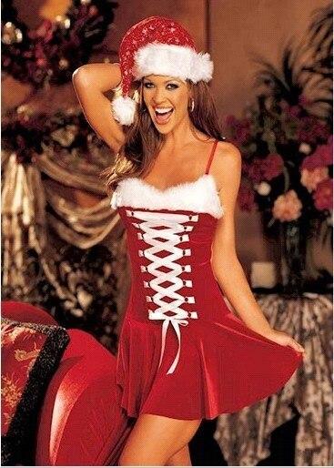 9e55c7d31fe Hot Sales Christmas Party Women Dress Sexy with Ribbon Skirt Santa Hat  Erotic Fantasia Ladies Wear