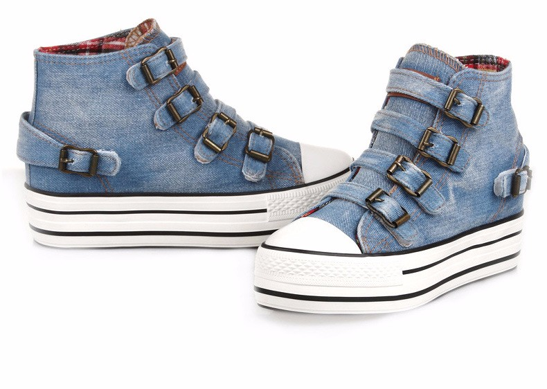 High Top Women Denim Shoes Espadrilles 2016 Fashion Autumn Hide Wedges Canvas Womens Shoes Lace Up Casual Shoes Sapatilha YD135 (29)
