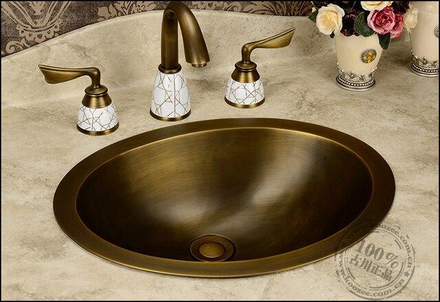 Vasque En Cuivre mode de l'europe de cru salle de bains de cuivre plein bronze lavage