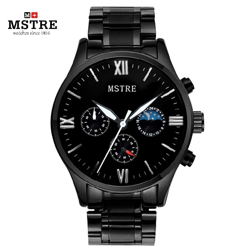 Brand MSTRE Fashion Casual Business Watch Men s Quartz Stainless Steel Wrist Watches Chronograph Moon Phase