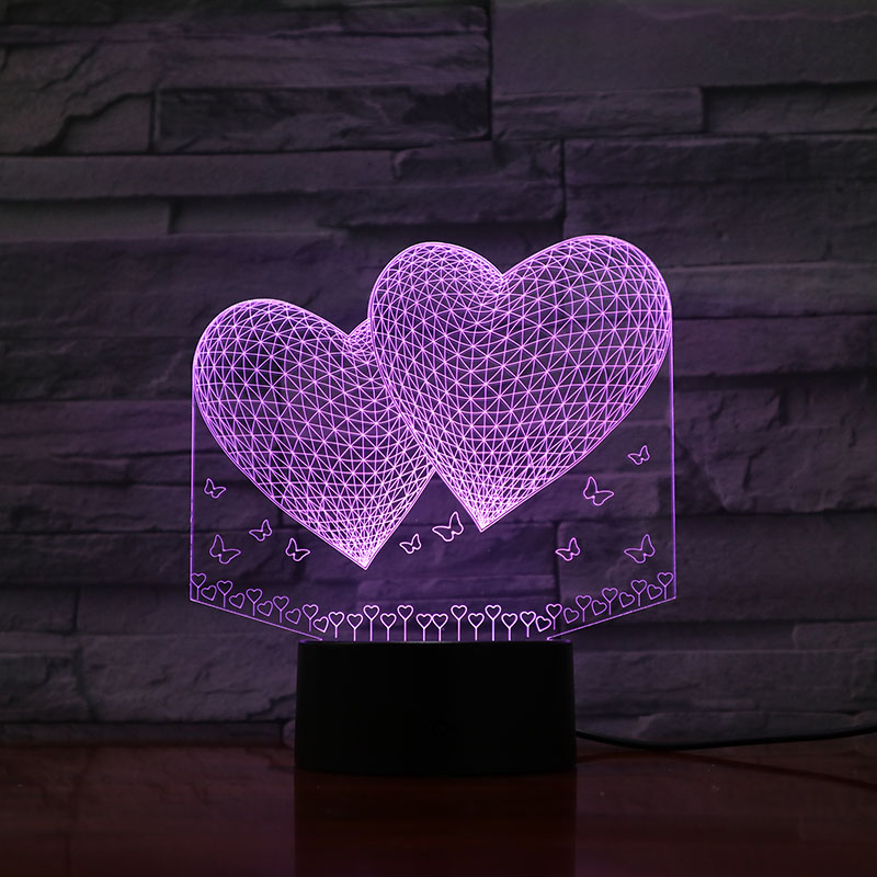 3D LED Lamp Love double hearts bedside 7 Color Changing Lampara RGB Girl Child Kids Baby Birthday Gifts USB Night Light