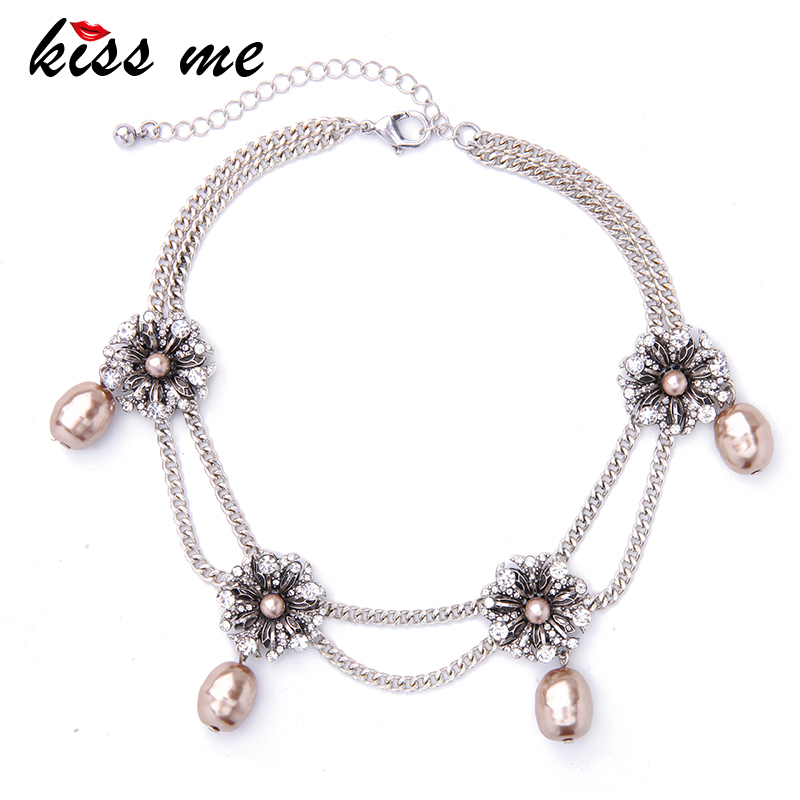 KISS ME New Double Chains Crystal Flowers Choker Necklace Simulated Pearls Pendants Jewelry Valentines Gift