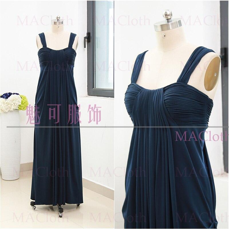 MACloth Dark Navy A-Line Strap Floor-Length Long Jersey   Prom     Dresses     Dress   L 261571 Clearance