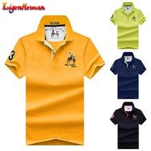Camisa polo masculina de algodão, camisa de manga curta bordada, cor sólida, gola polo, verão, plus size 4xl