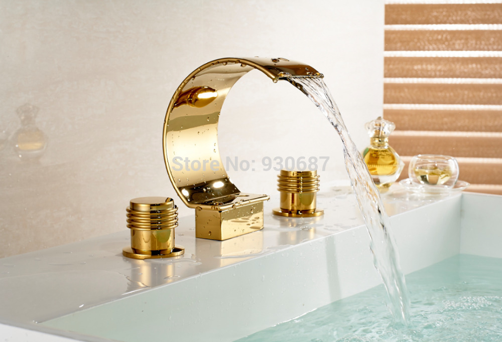 Waterfall Basin faucet Golden Dual Handle Bath Centerset Mixer Tub Tap