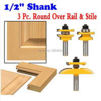 1 2 Shanks Round Over Rail Stile With Cove Panel Raiser 3 Bit Router Bit Set