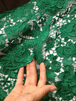 emarlad green lace fabric with 3D flowers, crochet lace fabric, lace fabric for bridal dress, venice lace fabric