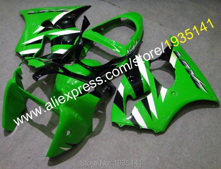 Ventes chaudes, ZX6R Carénage Pour Kawasaki cowling ZX-6R vert blanc noir corps 00 01 02 NINJA ZX 6R 2000 2001 2002 (moulage par injection)