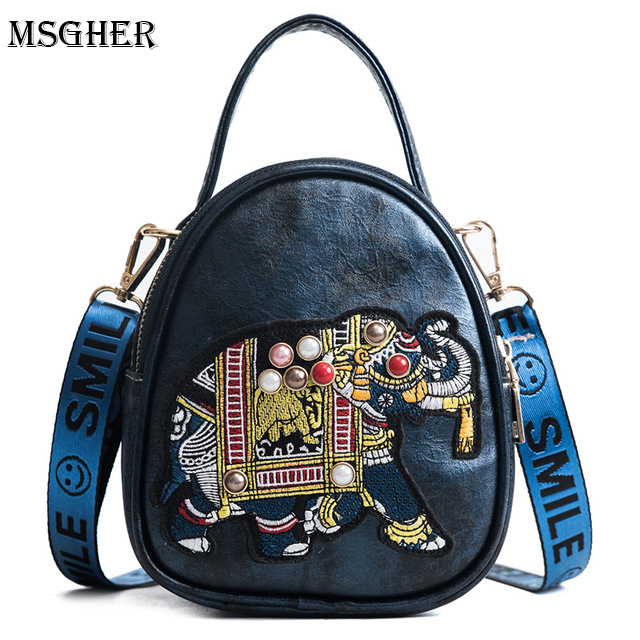 M.S Elephant Embroidery Shell Bags Vintage Women Shoulder Bag 2018 Summer Zipper Small Handbags Female Casual Crossbody Bag
