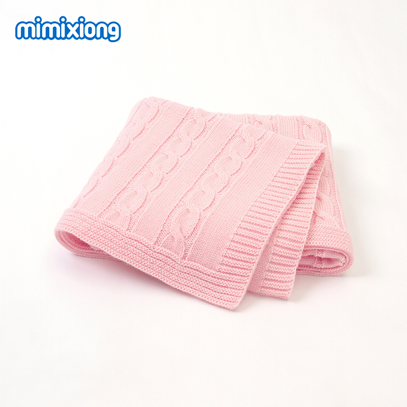 Baby Blanket Knitted Newborn Boys Girls Swaddle Wrap Blankets 100*80cm Infant Milestone Solid Color Toddler Children Accessories