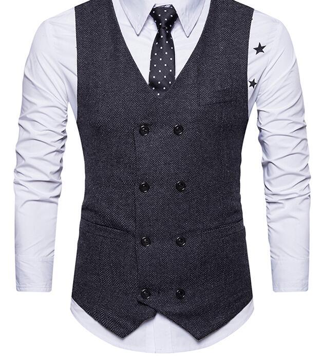 Vintage marron tweed gilets laine chevrons style britannique sur mesure hommes costume tailleur slim fit Blazer costumes de mariage pour hommes