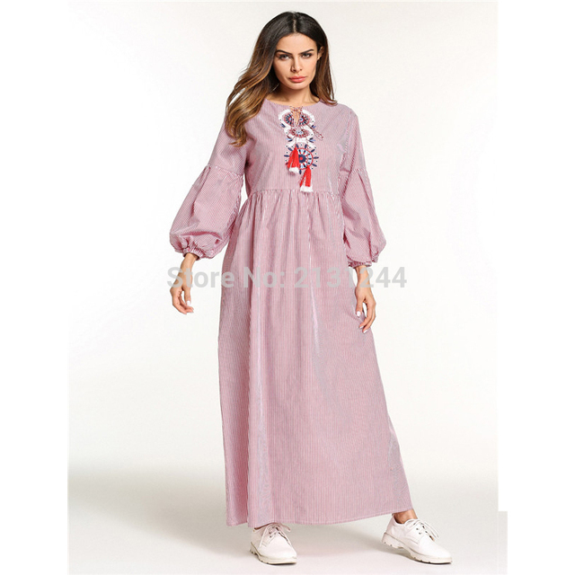 Casual Women s Embroidery Striped Maxi Dress Abaya Long Robe Gowns Muslim  Middle East Moroccan Ramadan Arab Islamic Clothing bc9ed11a9