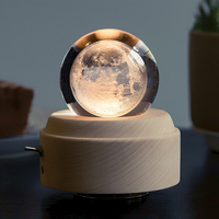 Wooden Music Box Moon Style Luminous Rotating 3D Crystal Night Light Musical Box for Kids Girls YU Home