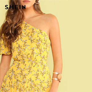 Image 4 - SHEIN Boho Yellow One Shoulder Layered Asymmetrical Ruffle Hem Dress Women Fit and Flare Elegant Summer Long Dresses
