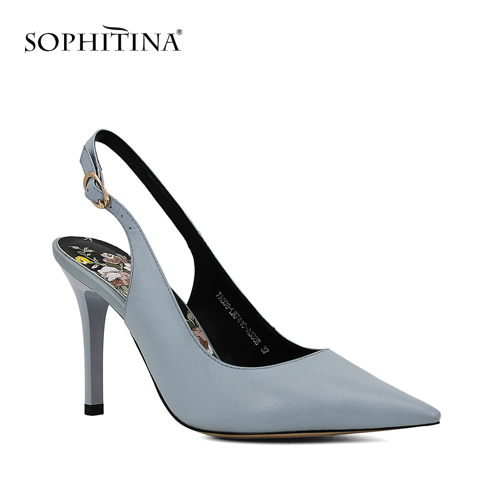 SOPHITINA Brand Lady Sandal Sheepskin Pointed Toe Lady Sexy High Thin Heel Shoe Solid Buckle Strap Wedding Party Women Shoes S04 цена 2017