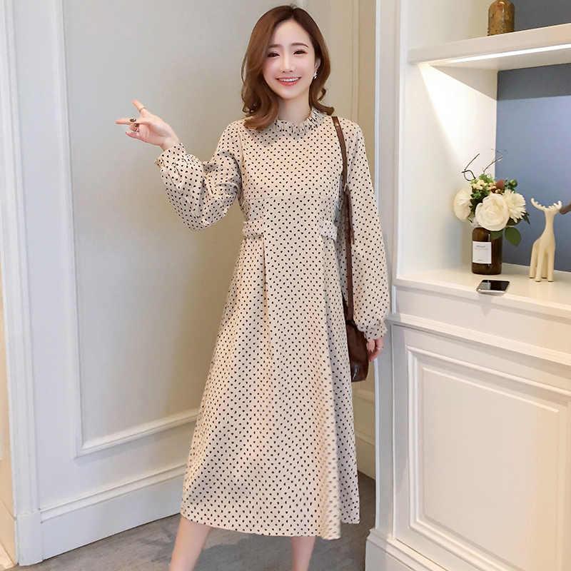 9252 #2019 Весенняя корейская мода для беременных кормящих длинное платье одежда для грудного вскармливания для беременных женщин с принтом в горошек для беременных