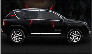 Steel window full Complete Around cover Trim 10pcs for JEEP COMPASS 2011-2015