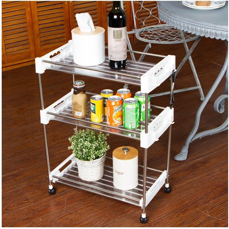 Stainless Steel Trolley Storage Rack Multi-function Seam Shelf Kitchen Trolley Toilet Storage Finishing Rack  Folding Cart