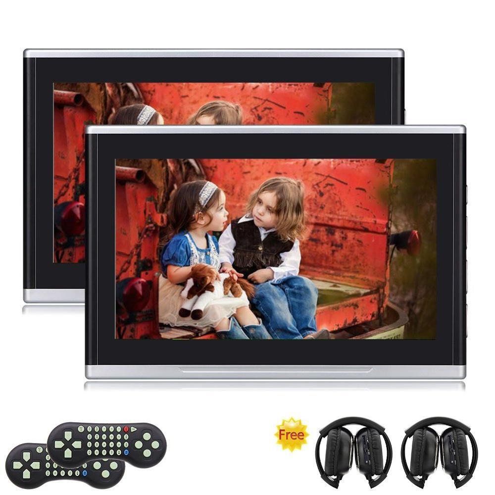 2x Twin 10.1 pouces HD numérique multimédia moniteur voiture appuie-tête lecteur DVD intégré HDMI/USB/SD jeux de Port une paire de casque IR